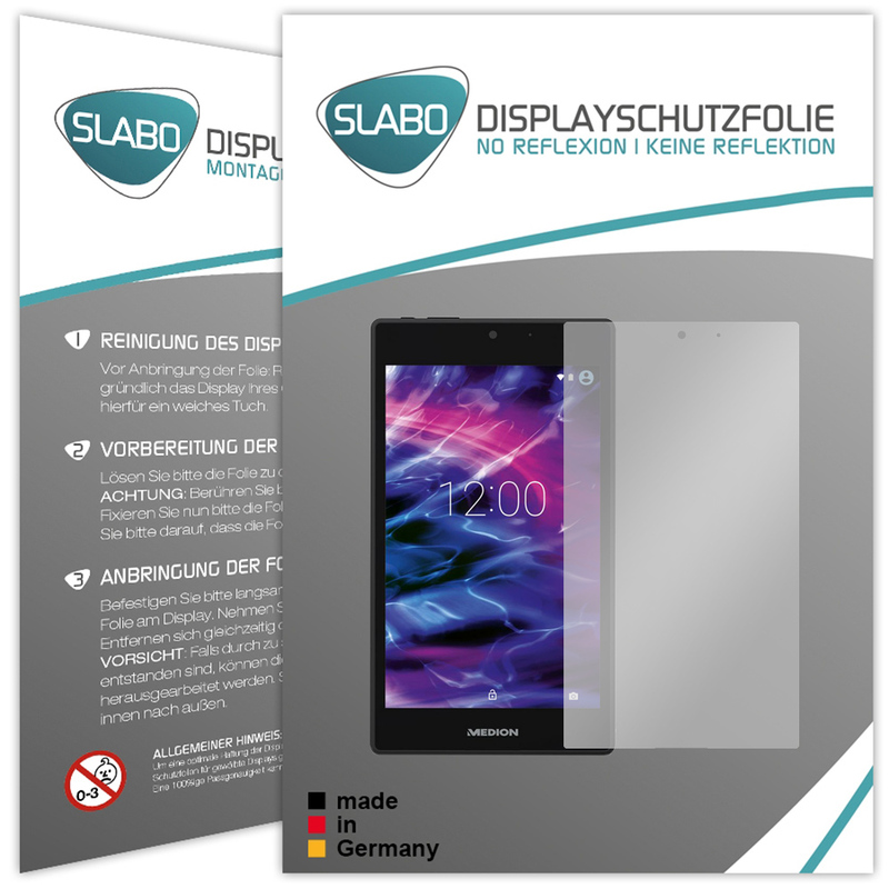 "2 x Slabo Displayschutzfolie Medion Lifetab P7332 (MD 99103) Displayschutz Schutzfolie Folie ""No Reflexion