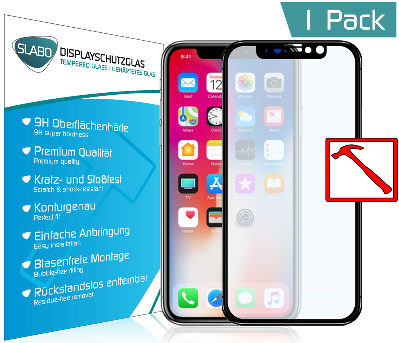 "Slabo PREMIUM Tempered Glass screen protector iPhone XS | iPhone X real glass screen protector ""Tempered Glass"" CLEAR - Hardness 9H"