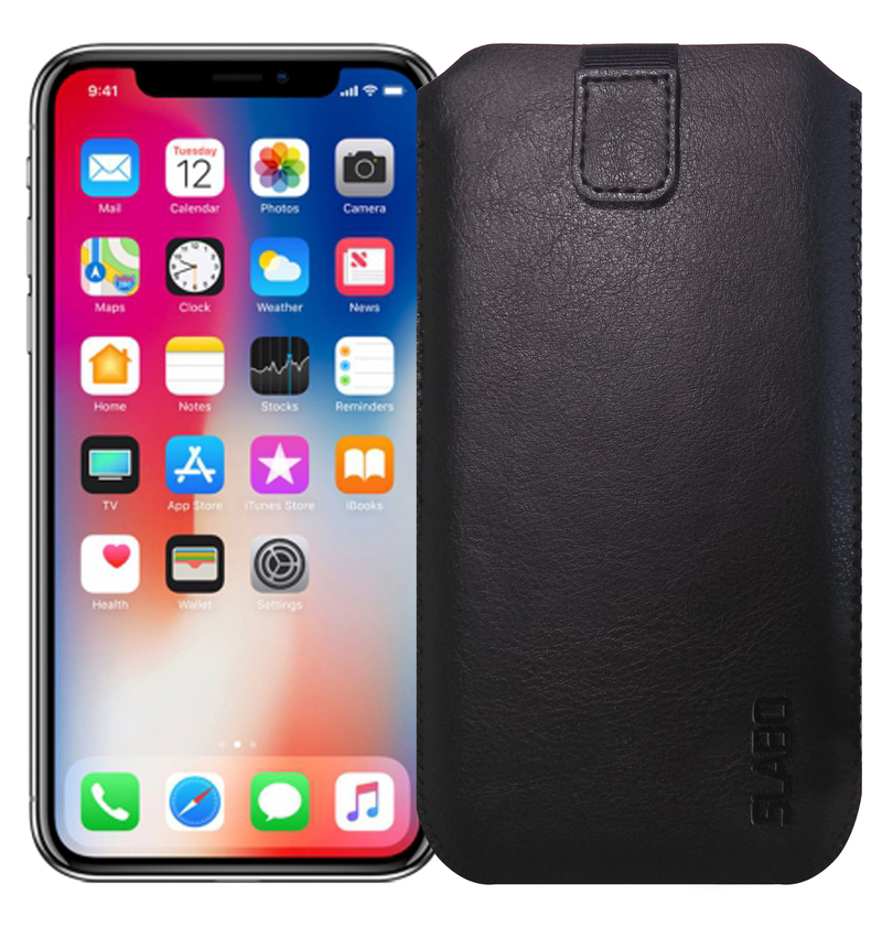 "Slabo Case for iPhone X | iPhone XS | iPhone 11 Pro Protective Cover ""PU-Leather"" - BLACK 