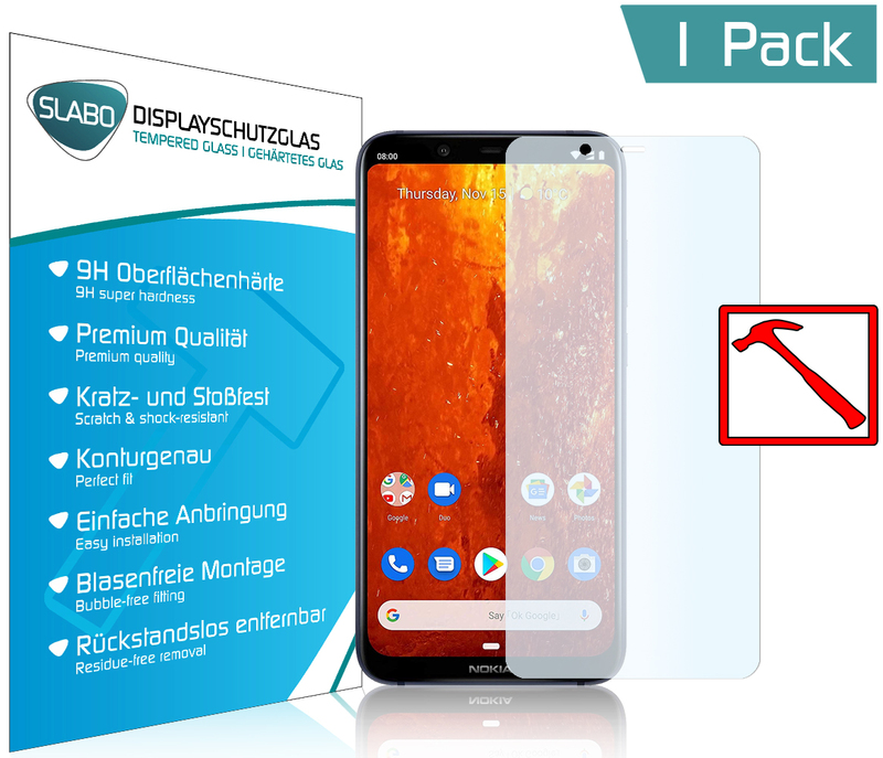 "Slabo PREMIUM Tempered Glass screen protector Nokia 8.1 real glass screen protector  (reduced dimensions of the screen protectors due to a curved display) ""Tempered Glass"" CLEAR - Hardness 9H"