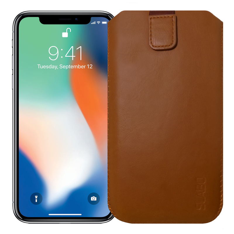 "Slabo Case for Apple iPhone 7 Plus / iPhone 8 Plus / iPhone X / iPhone XS Protective Cover ""PU-Leather"" - BROWN 